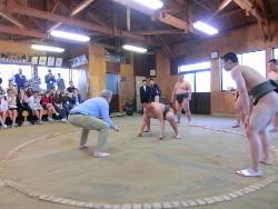 相撲体験(1) 「見合って」「はっけよい」